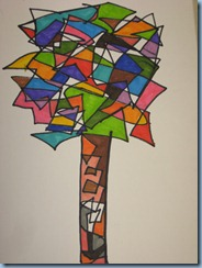 Με γραμμές ευθείες, ήρεμες και ανήσυχες φτιάχνουμε σχήματα και όγκους. Φτιάχνουμε ένα δέντρο. Μαρκαδόροι, τέμπερες (1)