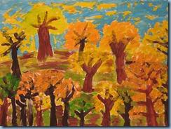 Φθινόπωρο στο δάσος. Ζωγραφική με τέμπερες.